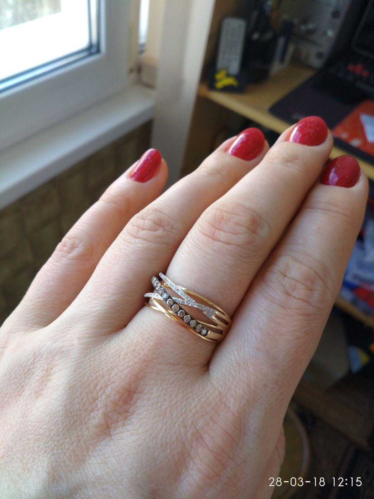 Кольцо из жёлтого золота с коньячными и белыми бриллиантами